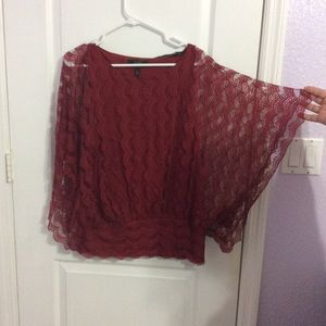 Burgundy lace work blouse